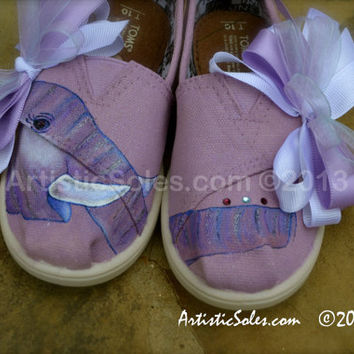 Hand Painted Custom TOMS - Sweet Purple Elephant -Toddler/Tiny TOMS