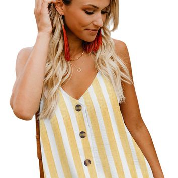 Chic Yellow Striped Button Up V Neck Strappy Shirt Cami Top