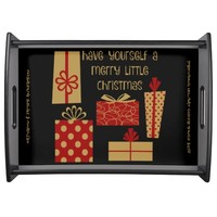 Personalized Holiday Serving Tray, Red Gold Black Service Trays