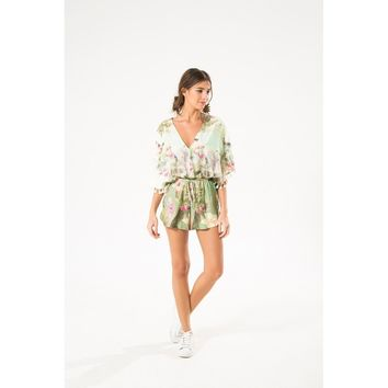 Sleeves Tropical T Back Jumpsuit