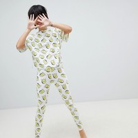 ASOS DESIGN Waving Avocado Legging And Boxy Tee Pyjama Set at asos.com