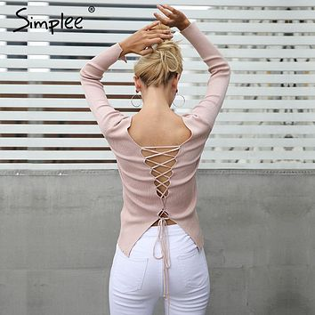 Backless Laced Long-Sleeve Pullover Sweater