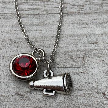 Personalized Cheer Megaphone Necklace with Birthstone