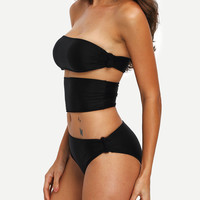 Black Cutout Strapless One-Piece Swimwear