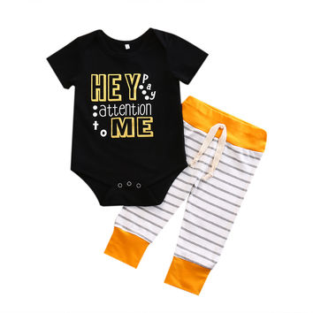 2PCS HEY baby clothes set 2017 Summer Newborn Infant Toddler Boys Rompers Tops + Pants Outfits Clothes Set
