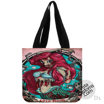 ARIEL LITTLE MERMAID zOMBIE New Hot, handmade bag, canvas bag, tote bag