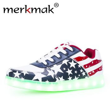Glowing LED Lighting Up Fashion USA Flat Shoes