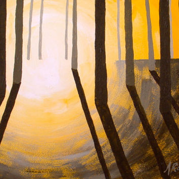 Yellow Sunset, Sunrise Abstract Landscape Painting, Small Format Art, Sunset Painting, Sunrise Painting