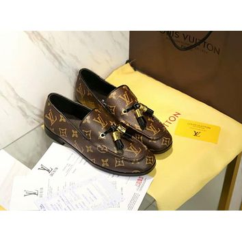 LV Louis Vuitton Fashion Women Comfortable Leather Shoes Coffee I-ALS-XZ