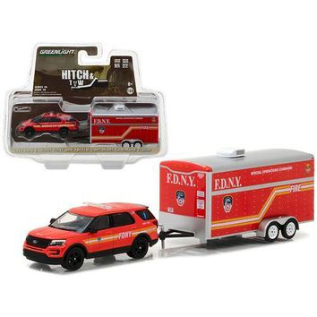 2016 Ford Explorer Official Fire Department NYC (FDNY) and Special Operations Command Trailer Hitch & Tow Series 10 1/64 Diecast Model Car  by Greenlight