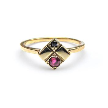 Ruby Black diamond Square Ring