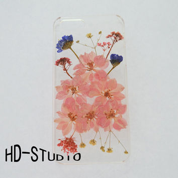Pink Pressed flower iphone 5 case, real pressed flower iphone 6 case, iphone 5 /5c / 4 case