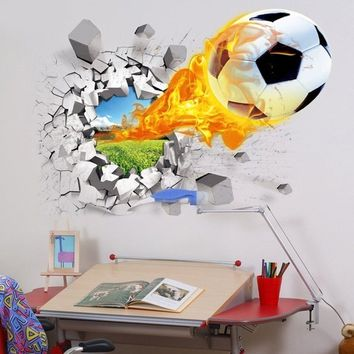 3D Football Wall Stickers Removable Stickers Bedroom Decor