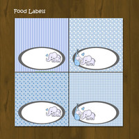 Blue Elephant Food Labels - Blue Elephant Printable Food Labels editable - INSTANT DOWNLOAD