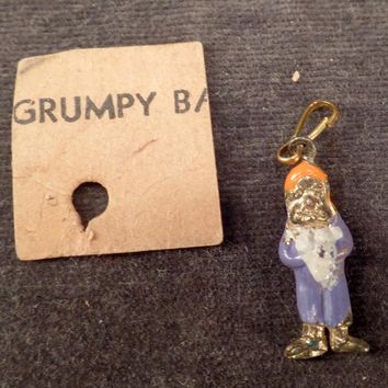 Vintage Miniature Charm of Disney's Grumpy – Enamel on Goldtone