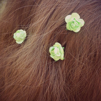 Little Neon Lime Green Paper Roses Hairpins - Black or Brown Bobby Pins - Set of 3 - Made to Order