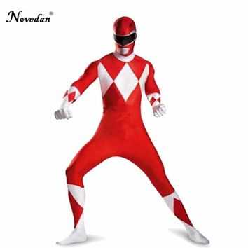 Adult Halloween Power Ranger Costume Men Bakuryu Sentai Abaranger Red Ranger Cosplay Clothing Zentai Suit