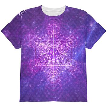 Sacred Geometry Metatron Cube Map of Creation All Over Youth T Shirt