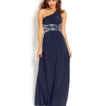 Hailey Logan by Adrianna Papell Juniors' One-Shoulder Gown | macys.com