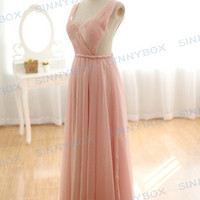 A line V-neck evening dress,sexy bridesmaid dress, Leak back prom dress, homecoming dresses, custom dress