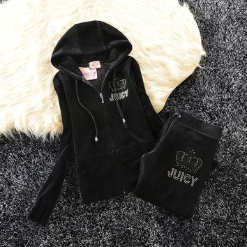 Juicy Couture Studded Simple Logo Crown Velour Tracksuit 31058 2pcs Women Suits Black