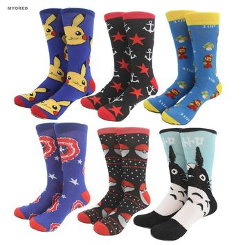 Superman Captain America Super Mario Totoro pikachu pokemon anchor big size Socks men & women unisex knee high long crew socks
