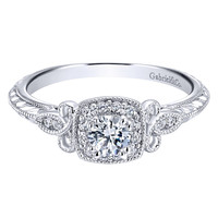 Gabriel 14K White Gold Pre-Set Diamond Halo Scrollwork Engagement Ring