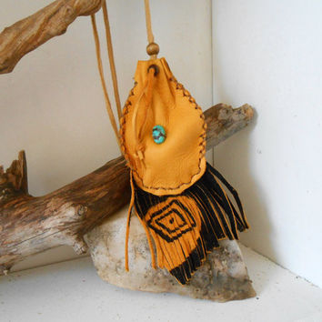 Hand Sewn Medicine Pouch with Turquoise, Eye of Wisdom, Leather Fringe Bag, Amulet Bag, Native American, Boho, Hippie, Southwestern, OOAK