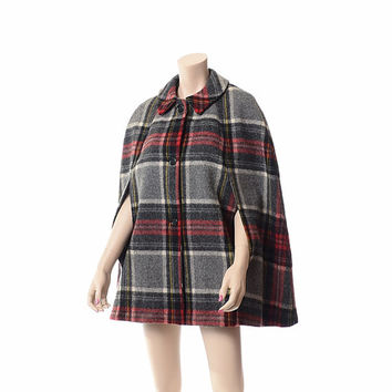 Vintage 50s 60s Tartan Plaid Wool Cape 1950s 1960s Bemidji Woolen Mills Swing Coat Draped Hippie Gypsy Boho Cloak Winter Jacket