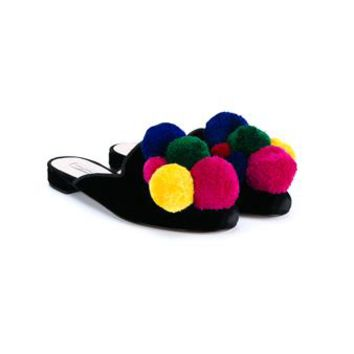 NATASHA ZINKO   Pom Pom Trimmed Slippers   brownsfashion.com   The Finest Edit of Luxury Fashion   Clothes, Shoes, Bags and Accessories for Men & Women