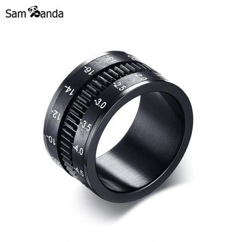 Unique Men's Rings Stainless Steel SLR Camera Lens Ring For Men Fashion Punk Jewelry Spinner Band Photographers Accessories