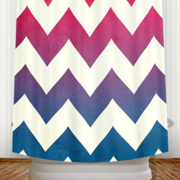 Fade to Blue  - Fuchsia Pink and Navy Ombre Chevron Shower Curtain