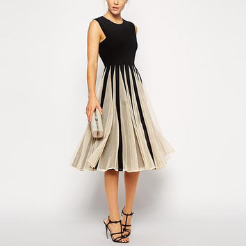 Black and Beige Pleated Midi Dress