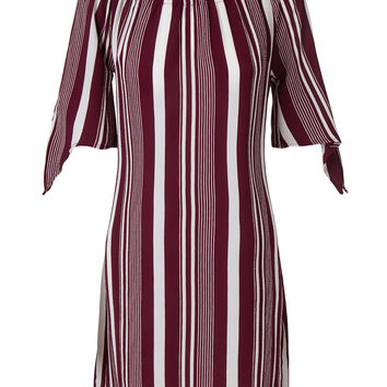 LE3NO Womens Flowy Off Shoulder Short Sleeve Striped Midi Dress