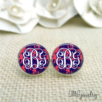 Lilly Pulitzer Inspired  Monogram Glass Earrings,Tusk in Sun Monogram Earrings, Silver Monogram Earrings, Lilly Monogram