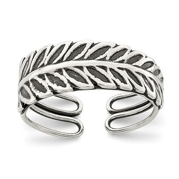 Sterling Silver Leaf Feather Antiqued Finish Toe Ring