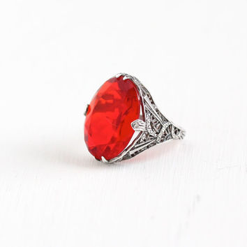 Vintage Art Deco Sterling Silver Simulated Ruby Ring - Antique 1920s Size 6 Filigree Oval Red Glass Stone Statement Uncas Jewelry