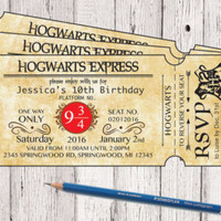 Harry Potter Hogwarts Express Ticket Birthday Invitation, Hogwarts Invitation, Harry Potter Invitation, Hogwarts Invite, Magic Party