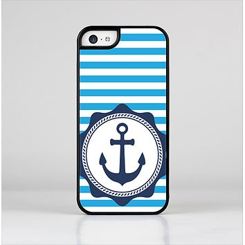 The Vector Navy Anchor with Blue Stripes Skin-Sert for the Apple iPhone 5c Skin-Sert Case