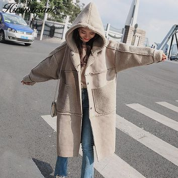 Hirsionsan Oversized Winter Coat Women 2017 Korean Style Hooded Lambswool Parkas Thicken Suede Leather Outwears Long Jackets