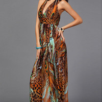 Coffee Peacock Print Plunging Halter Maxi Dress