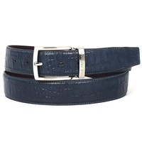 PAUL PARKMAN Men's Crocodile Embossed Calfskin Leather Belt Hand-Painted Navy