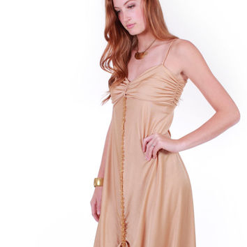 70s Vintage Liquid Gold Draped Maxi Dress Disco Queen Gathered Grecian Shiny Long Gown Retro Hollywood Glamour Clothing Womens Size Small