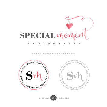Photography branding kit, Premade Logo design,  Heart Logo, Watercolor logo, Pre made logo, Watermark, Stamp, Blog logo, Cosmetic logo 30