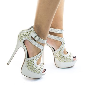 Jacklyn127 High Heel Platform Sandal w Metal Studded Detail