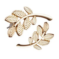 Women Stud Earrings Leaf Ear Climbers Ear Crawlers Color Gold Silver Tone Color 1 Pair