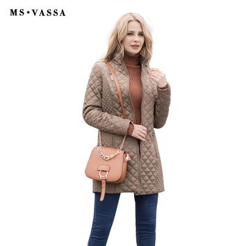 MS VASSA New Jackets 2018 Women Winter padded jacket stand-up collar long quilted coats plus size 5XL 6XL female outerwear