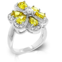 Yellow Cubic Zirconia Daisy Ring, size : 09