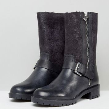 Dune Faux Fur Lined Mid-Calf Boot at asos.com