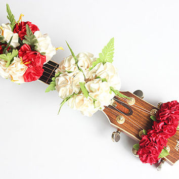 guitar accessories / Ribbon lei for guitar3set / music gift / guitar display